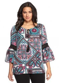 New Directions  Printed Tie Neck Blouse