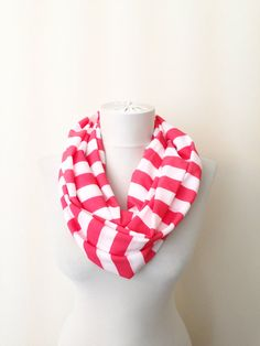 Chunky Striped Scarve, Infinity Scarf, Circle Scarves, Useful Tube Scarf, Fall Fashion on Etsy, $20.00