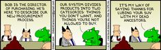 Bob is the Director of Purchasing. He's here to describe our new procurement process. http://dilbert.com/strips/comic/2010-11-26/