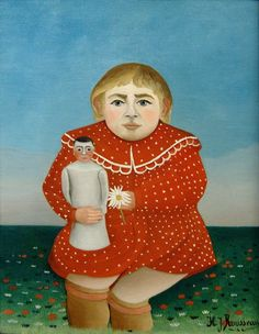 Giclee Print: Child/Doll Art Print by Henri Rousseau by Henri Rousseau : Child Doll, Girl Dolls, Georges Seurat, Henri Rousseau Paintings, Munier, Avant Garde Artists, Painting Of Girl, Post Impressionism, Photomontage