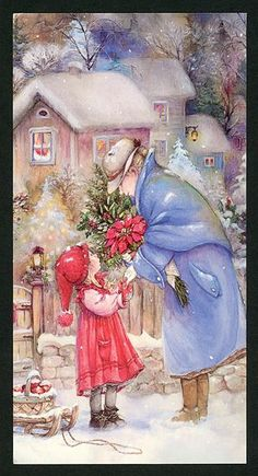 Greeting your neighbor Lisi Martin Cosy Christmas, Christmas Scenes, Kids Christmas, Xmas, Christmas Artwork, Christmas Pictures, Vintage Greeting Cards, Vintage Christmas Cards, Childrens Christmas