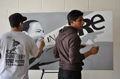 14-18 year olds contributed to a painting of Martin Luther King Jr., with artist Alex Roman on MLK Day 2012.