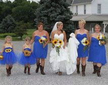 Flower Girl Tutu Dress- Royal Blue with Sunflower and Golden Yellow Satin Ribbon Sash and Accents- Country Wedding