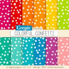 Confetti digital paper COLORFUL CONFETTI polkadots by Grepic, $4.80