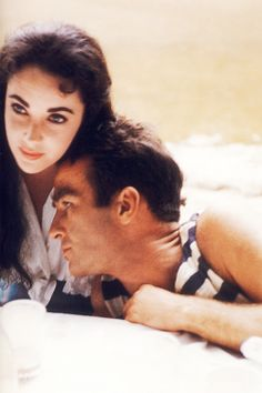 Elizabeth Taylor and Montgomery Clift on the set of Raintree County, photographed by Bob Willoughby, 1956.