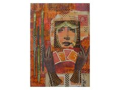 Beautiful Stamp Collector-Original Art-vintage postage by luckduck