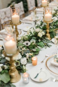 15 Greenery Garland Wedding Centerpiece Ideas For Long Table Vintage Greenery Wedding Table Runner With Candles Candle Centerpieces, Wedding Table Centerpieces, Wedding Flower Arrangements, Wedding Decorations, Table Decorations, Centerpiece Ideas, Anemone Wedding, Floral Wedding, Christmas