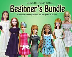 Beginner's Bundle: Learn to sew doll clothes pdf sewing pattern collection for Barbie, Disney Princess, and other Medium Fashion Dolls Barbie Sewing Patterns, Doll Patterns, Clothing Patterns, Sewing Clothes, Doll Clothes, Tea Gown, Doll Wigs, Doll Shop, Learn To Sew