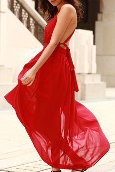 Plunging V Neck Backless Prom Dress RED: Maxi Dresses | ZAFUL