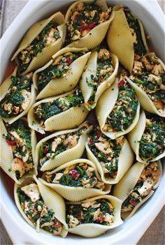 spicy chicken + spinach enchilada-stuffed shells