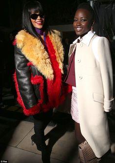 New besties: Rihanna and Lupita Nyong'o pose together at the Miu Miu show at Paris Fashion Week on Tuesday 4th March 2014.