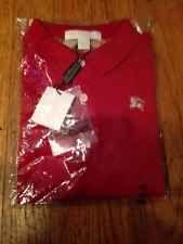 Burberry Polo Short Sleeve Shirt Toddler Boy Red Nova Check Sz 4Y NWT