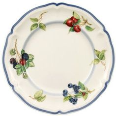 Features:  -Material: Premium porcelain.  -Collection: Cottage.  -Dishwasher and microwave safe.  Color: -Green and red.  Material: -Porcelain China.  Pattern: -Fruit and vegetable. Dimensions:  Overa