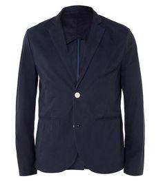 Navy Slim-Fit Cotton Suit Jacket