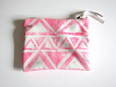 Small hot pink handprinted leather triangles clutch / by arcofla, $50.00