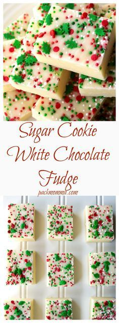 Sugar Cookie White Chocolate Fudge | Sugar Cookie White Chocolate Fudge is an easy, creamy no bake dessert that will be any chocolate lovers dream come true!| Pack Momma | www.packmomma.com