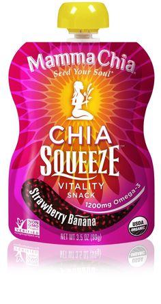 MAMMA CHIA: Organic Chia Squeeze Vitality Snack Strawberry Banana, 3.5 oz