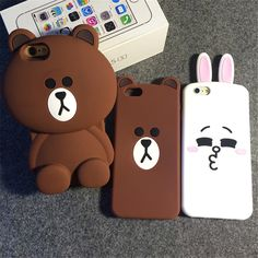 Cartoon Capa Cases 3D Teddy Bear Rabbit Cute Animal Coque Silicone Phone Case Cover For iPhone 7 7Plus 5 5S SE 6 6S 6Plus Fundas