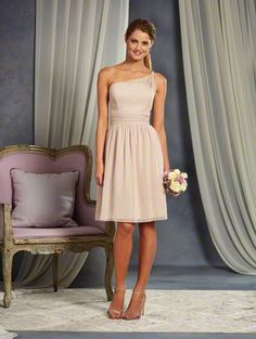 Alfred Angelo Style 7369S: one shoulder short cocktail length bridesmaid dress is adorned with a twisted beaded strap