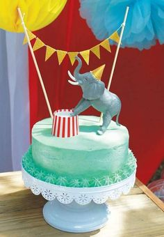 Circus birthday party cake! See more party planning ideas at CatchMyParty.com!