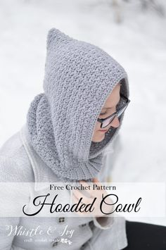 Free crochet pattern! Women's crochet hooded cowl. Stay cozy with this cute hooded cowl, made with the elegant grit stitch and snuggly ribbing. Perfect project for winter.