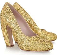 Miu Miu gold glitter shoes