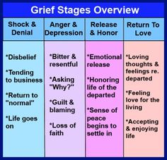 Heres a four part overview of the grieving process, showing the self-protective shock and denial, followed by the resistance of anger and depression, leading finally to release, resolution and peace. http://eclipcity.com