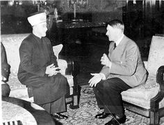 "Haj Amin al-Husseini, Grand Mufti of Jerusalem, meets Hitler in 1941. He was known as ""The Arab Fuhrer"" and openly incited violence against Jews his whole life. Haj Amin al-Husseini recruited Bosnian Muslims for the SS who ultimately slaughtered 90% of Bosnia's Jews. Eventually, after the re-formation of Israel the mufti's nephew, Rahman Abdul Rauf al-Qudwa al-Husseini, took over leadership of the region's Muslims. He renamed himself Yasser Arafat."