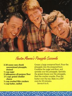Mayberry Newton Monroe's Pineapple Casserole Recipe Postcard plus other Mayberry recipes.