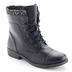 Mudd® Women's Lace-Up Knit-Cuff Boots