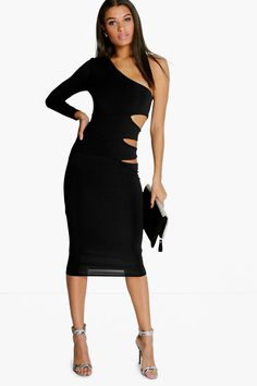 Taylor One Shoulder Cut Out Side Midi Dress
