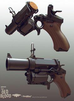 Wolfenstein: Old Blood Kampfpistol, Tor Frick on ArtStation at https://www.artstation.com/artwork/wolfenstein-old-blood-kampfpistol