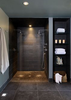 Love how the open shelf finish mimics the shower—a good idea for my bathroom❣ Interior Designs