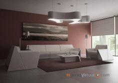 ingeniovirtual.com - Infografía 3D para visualizar zona de espera en proyecto de #interiorismo y #mobiliario para oficina.