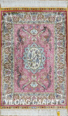 Pink Persian rug Oriental Turkish carpet silk rug Tabriz rugs hereke area rugs  Materials: Silk Technology: Hand Knotted Size: 2'x3' -14'x20'    Color: Blue, Yellow, Pink, Beige, Light and green.  Design: Flower, Birds, four season, and hunting  Fit for: bedroom, living room, dining area, hallway, porch, office etc. … Email: alice@yilongcarpet.com  WhatsApp/Tel/Wechat: +86 156 3892 7921   #handmadecarpets #cheapercarpet #homeflooringcarpet