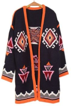Navy Long Sleeve Geometric Loose Cardigan Sweater  I need one of these