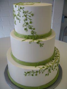 Tizzerts Wedding Cake: Trailing Fern Design! Wonderful splash of color!