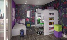 Quarto Juvenil Completo com Cama, Beliche, Escrivaninha, 2 Mesas Lateriais e 2 Puff's Baú Verde/Branco/Azul/Rosa/Amarelo/Roxo - Caaza