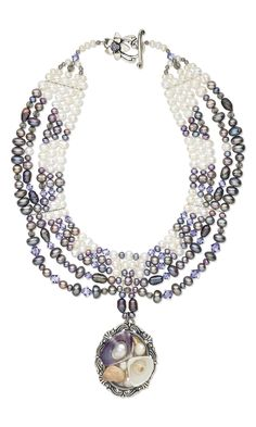 Jewelry Design - Multi-Strand Necklace with Assorted Seashell Focal, Cultured Freshwater Pearls and Swarovski Crystal Beads - Fire Mountain Gems and Beads