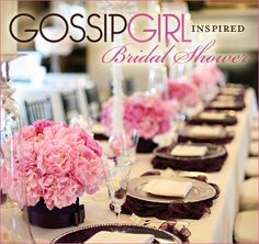 """Today's Real Party feature is a gorgeous """"Gossip Girl Inspired"""" Bridal Shower created by event planner Carolyn Chen of The Special Day. The details of Gossip Girl Party, Estilo Gossip Girl, Bridal Shower Decorations, Table Decorations, Here Comes The Bride, Marry Me, Special Day, Special Holidays, Special Occasion"""