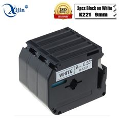 3pcs m-k221 compatible brother label printer p-touch ribbon 9mm black on white mk 221 mk211 label cartridge