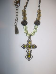 """ANTIQUE 1928 (Stamped) Copper & Green Crystals Religious Cross 18"""" Chain Link Necklace"""