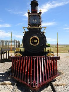 A steam locomotive at the Golden Spike National Monument in Utah where railroads from the east and west first met each other in 1869.