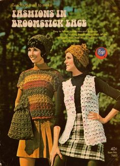 Boye 7683 Easy Fashions Broomstick Lace Crochet Patterns Hat Bag Vest Baby 1970 #BoyeNeedleCo #BroomstickLaceCrochetPatterns