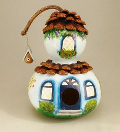 Hand painted and decorated blue bird house gourd by terrystuff.etsy.com.  Priced at $39.00.