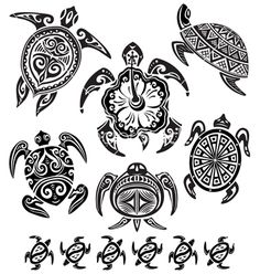 Decorative turtles vector on VectorStock®