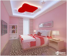 romantic heart ceiling modern false ceiling for kids room interior