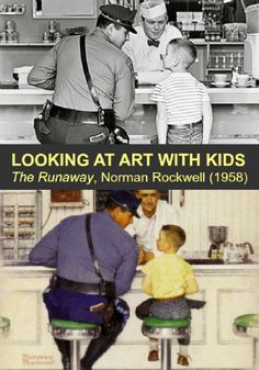 LOVE NORMAN ROCKWELL The storytelling/narrative quality of Norman Rockwell's painting, The Runaway, makes it a really good piece to talk to kids about. Hop over for a fun way to explore this piece by comparing it to the photograph that inspired it. Norman Rockwell Art, Norman Rockwell Paintings, Paintings Famous, Famous Artists, Famous Artwork, Oil Paintings, Art Lessons Elementary, Modern Artists, Art Classroom