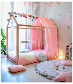 Small Room Bedroom, Small Rooms, Room Decor Bedroom, Girls Bedroom, Canopy Bedroom, Canopy Beds, Fabric Canopy, Muslin Fabric, Bedroom Storage