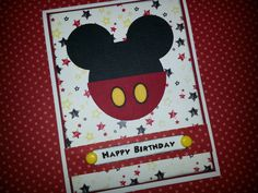 Handmade Mickey Mouse Birthday Card by ItsPolkaSpotted on Etsy, $3.50